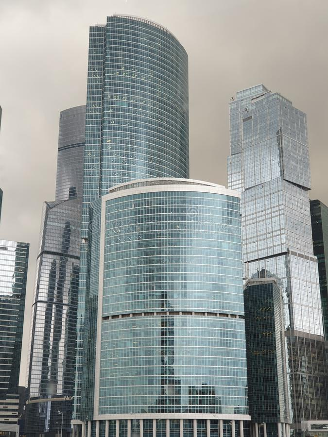 Skyscrapers in Moscow city stock images