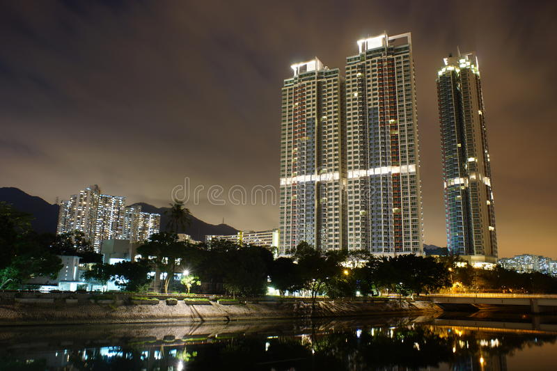 Skyscrapers at New Territories. Part of Hong Kong on the south coast of mainland China, lying to the north of the Kowloon peninsula and including the islands royalty free stock photo