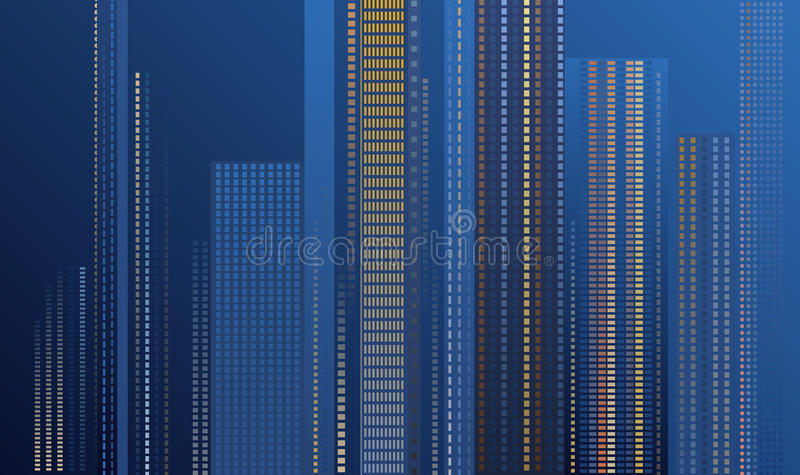 Download Skyscrapers at night stock vector. Illustration of buildings - 27731001