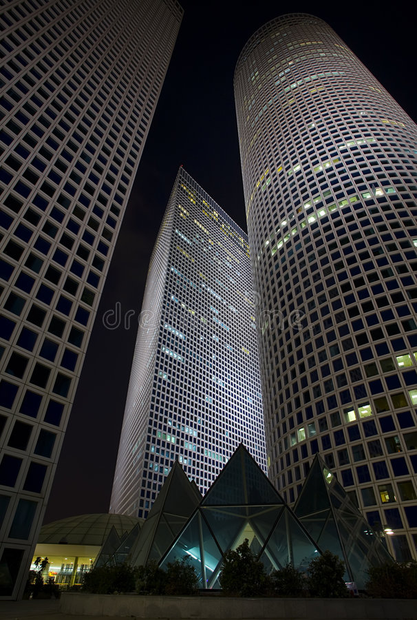 Skyscrapers at night stock photo
