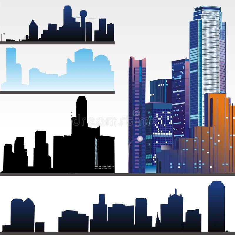 Free Skyscrapers On White Background Stock Image - 4447881