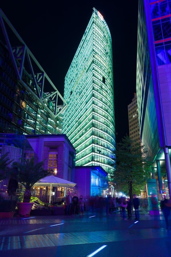Skyscrapers On Postadmer Platz To Night Lighting Editorial Stock Image
