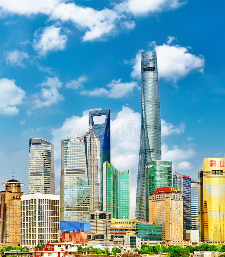 Skyscrapers of Pudong stock images