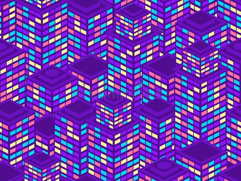 Skyscrapers seamless pattern. Isometric city buildings, metropolis. Neon color in the style of the 80s. Vector vector illustration