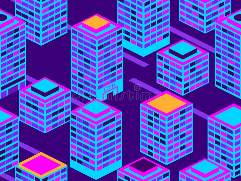 Skyscrapers seamless pattern. Isometric city buildings, metropolis. Neon color in the style of the 80s. Vector royalty free illustration