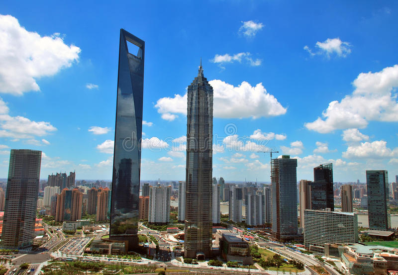 Skyscrapers in Shanghai royalty free stock photos