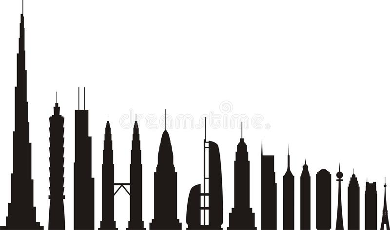 Skyscrapers silhouettes vector illustration