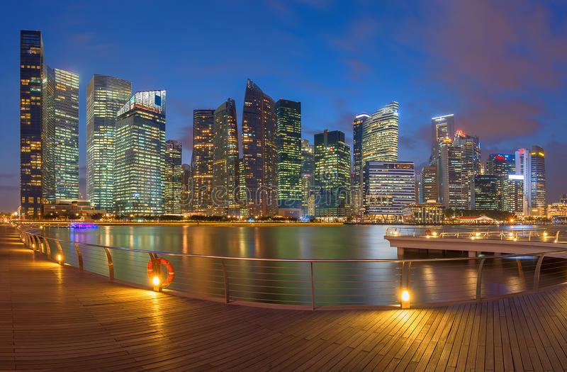 Skyscrapers in Singapore, Skyline. At Sunset stock photos