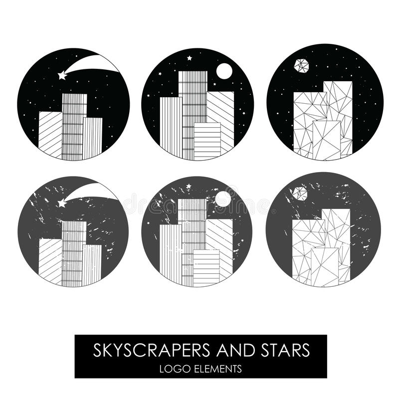 Skyscrapers and stars. High quality original logo. stock illustration