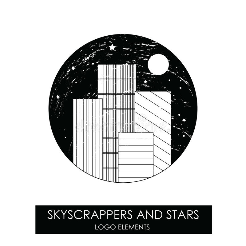 Skyscrapers and stars. High quality original logo. royalty free illustration