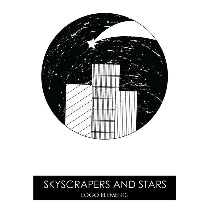 Skyscrapers and stars. High quality original logo. vector illustration