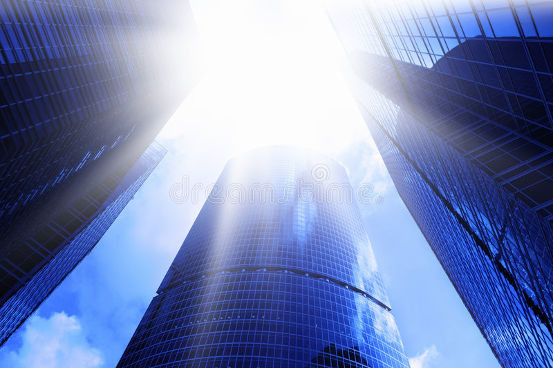 Download Skyscrapers and sun glare stock image. Image of economy - 6205559