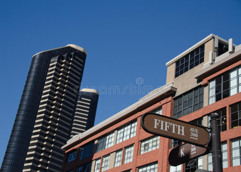Skyscrapers surrounding Gaslamp quarter - 3 stock image