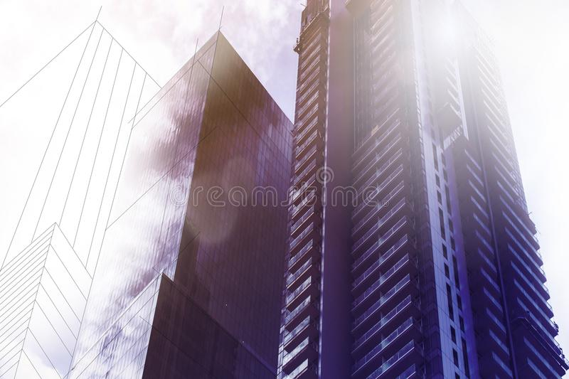 Skyscrapers in Tel-Aviv, Israel. Corporate building in modern city architecture background, toning. Sun rays and lens flare. Busin stock photo