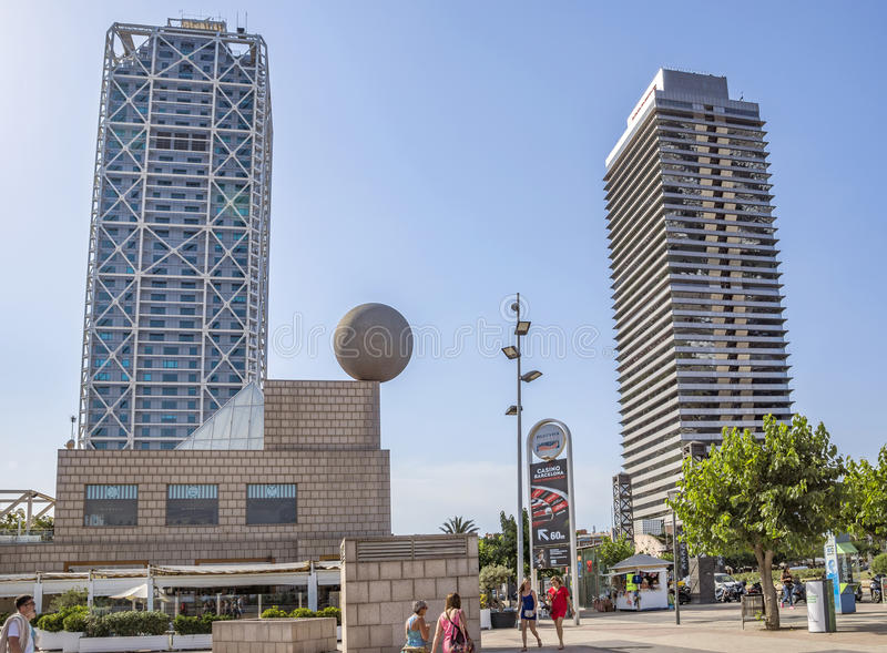 Skyscrapers Torre Mapfre in Barcelona. BARCELONA, SPAIN - JULY 4, 2016: Skyscrapers Torre Mapfre in the Olympic Port. It is named after its owner, Mapfre, an stock images