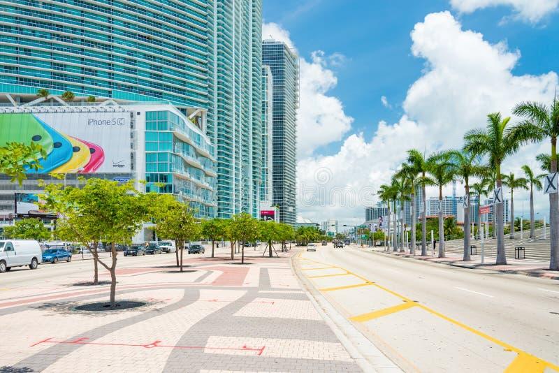 Skyscrapers and traffic in downton Miami. MIAMI,USA - JUNE 21,2014 : Skyscrapers and traffic on Biscayne Boulevard in downtown Miami stock photography