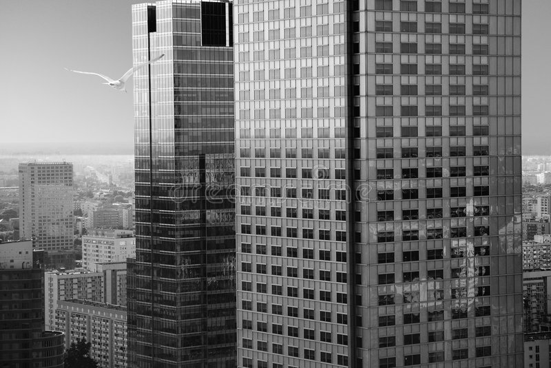 Skyscrapers in warsaw stock image