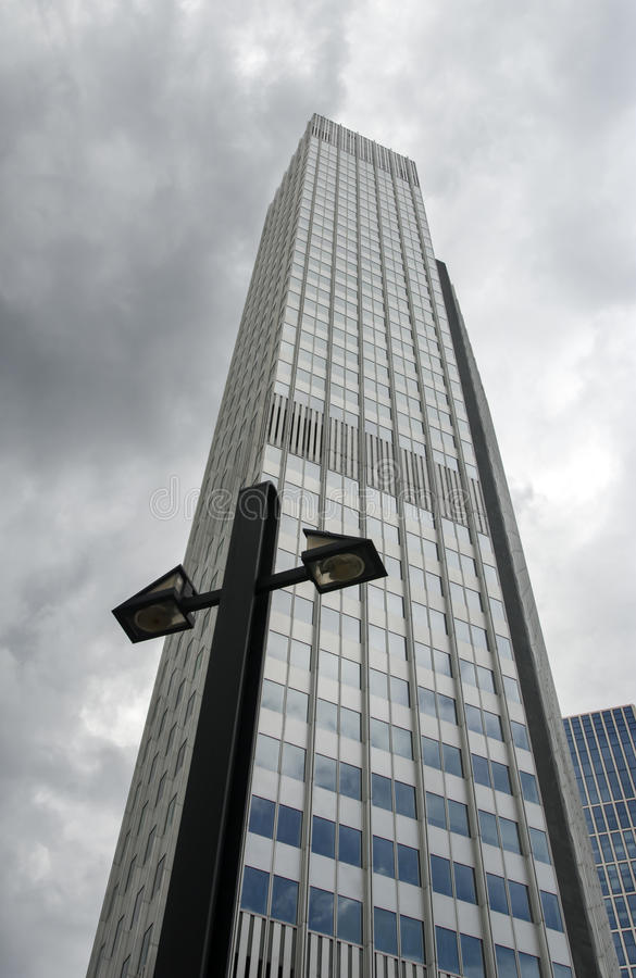 Skyscrapper and lamp stock photography