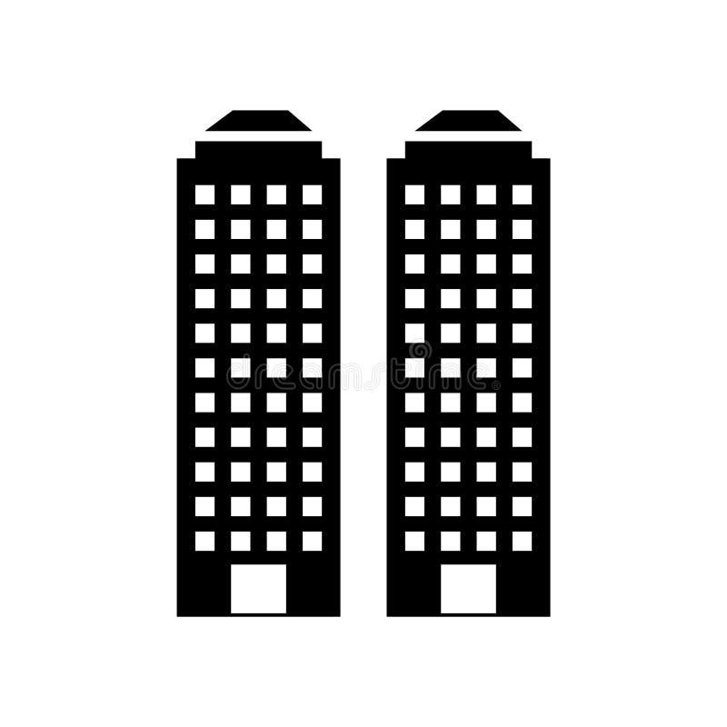 Skyscrapper symbolsvektor som isoleras på vit bakgrund, Skyscrapper tecken, konstruktionssymboler royaltyfri illustrationer