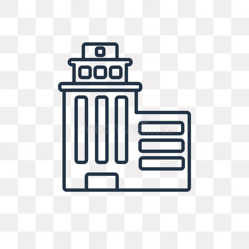 Skyscrapper vectordiepictogram op transparante achtergrond, lijn wordt geïsoleerd royalty-vrije illustratie