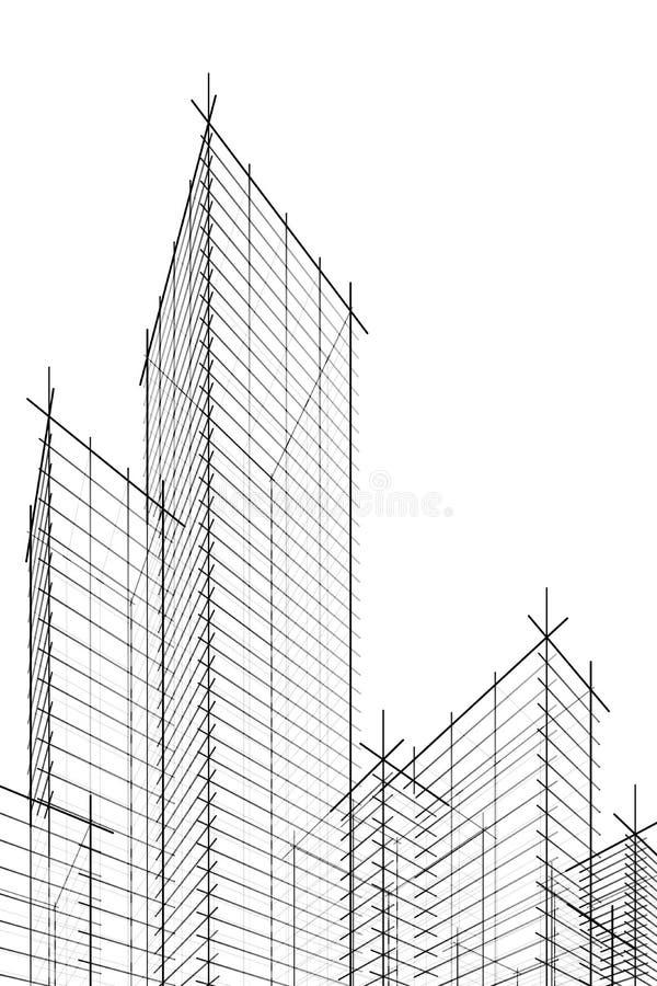 Skyscrappers abstraits de wireframe illustration libre de droits