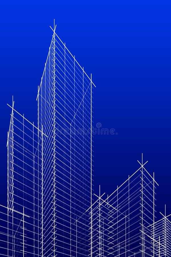 Skyscrappers abstratos do wireframe. versão azul. ilustração do vetor