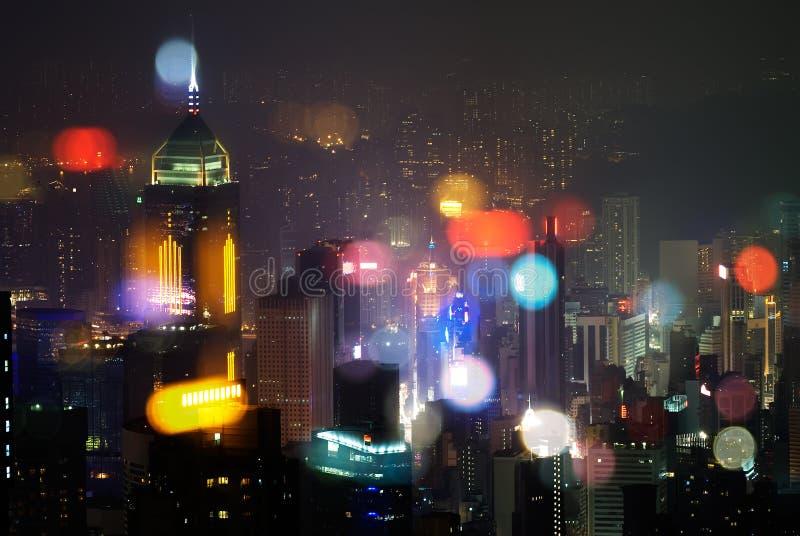 skyskrapa för Hong Kong modern nattplatser royaltyfri bild
