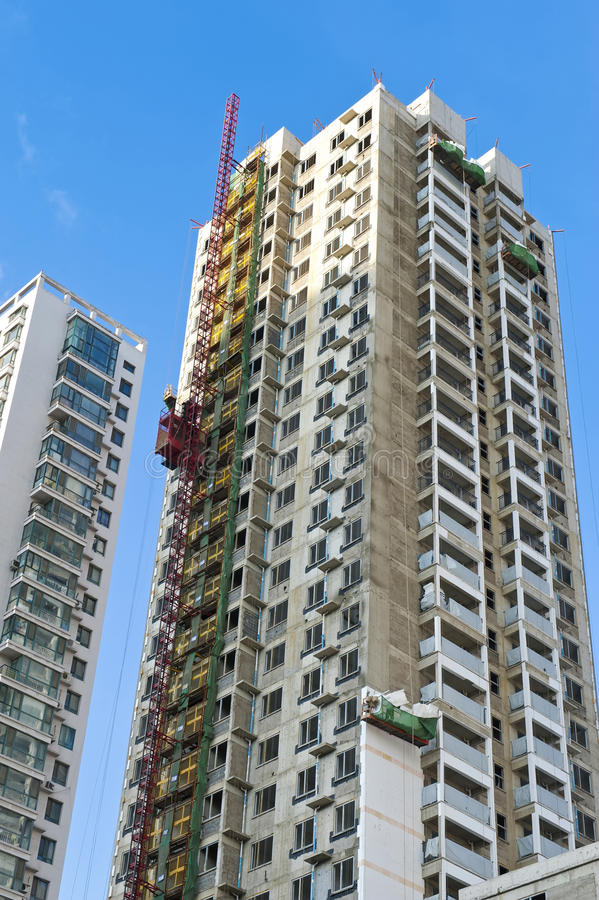 Skyskrapa under konstruktion arkivfoto