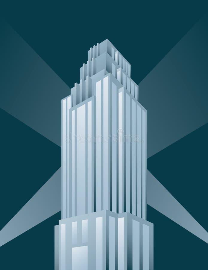 Skyskrapabyggnadsillustration i tappningstil vektor illustrationer