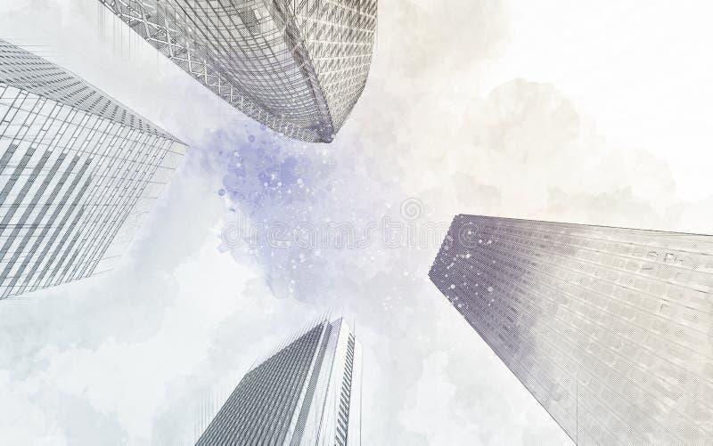 Skyskrapan skissar att se upp till himlen royaltyfri illustrationer