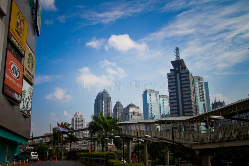 Skyskrapor av den Jakarta stadsmitten, Indonesien arkivbild