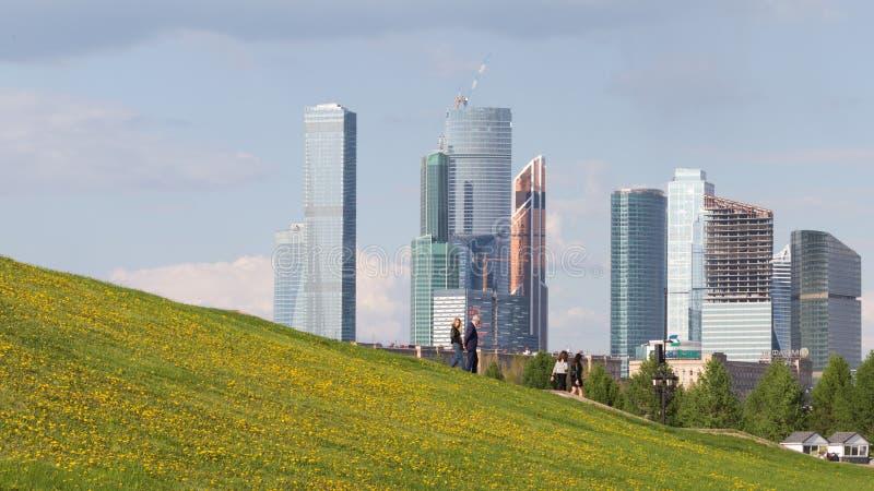 Skyskrapor av Moskvastaden i Moskva arkivfoton