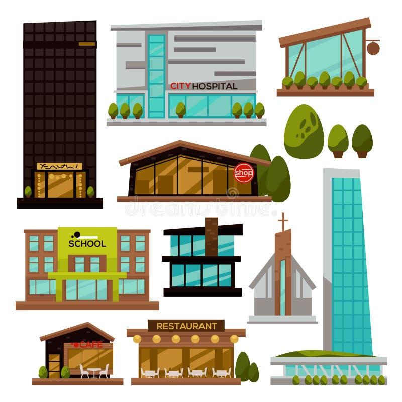 Skyskrapor för design för modern arkitektur för stadsbyggnader stads- futuristiska royaltyfri illustrationer