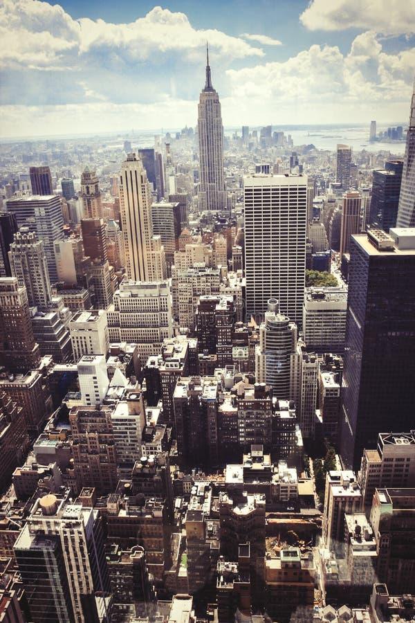 skyskrapor Flyg- sikt av New York City, Manhattan arkivfoto