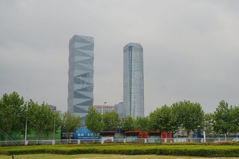 Skyskrapor i Nanjing City royaltyfria foton