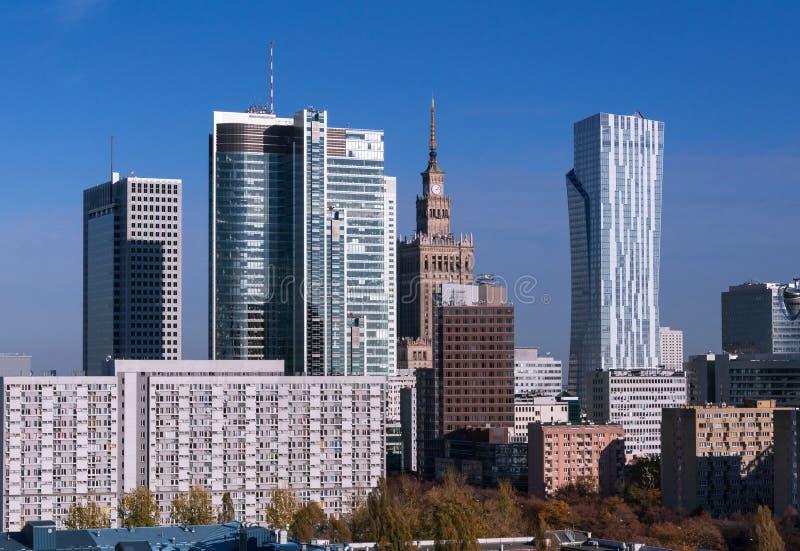 Skyskrapor i Warszawa royaltyfri foto