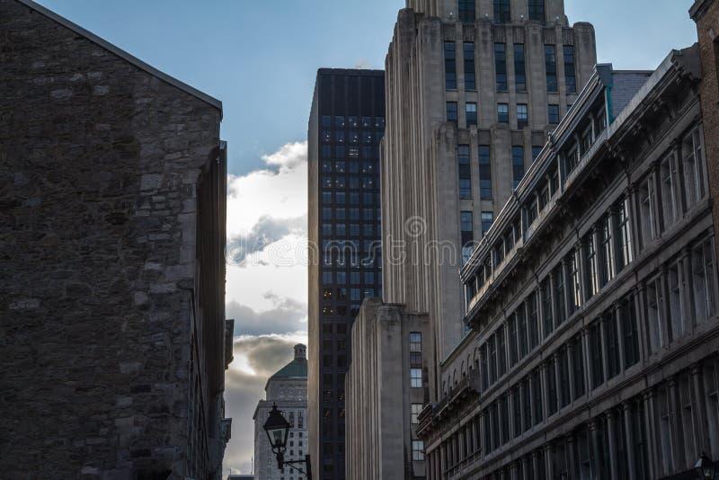 Skyskrapor och äldre byggnader i gamla Montreal Vieux Montreal, Quebec, Kanada Gamla Montreal är en av äldst delar av Amerika royaltyfria foton