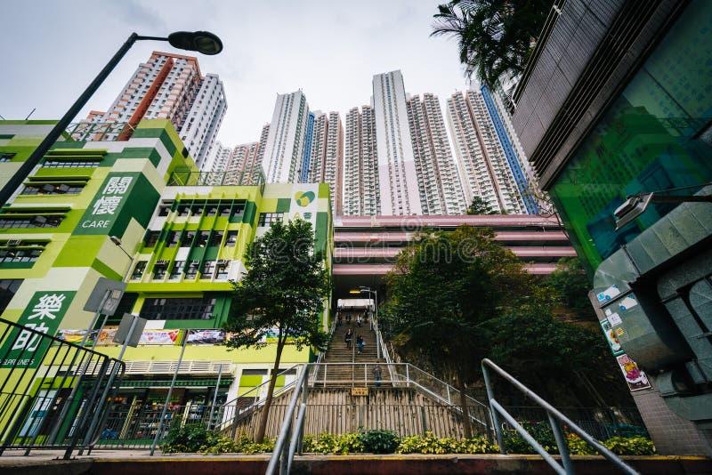 Skyskrapor och trappuppgång på Aberdeen, i Hong Kong, Hong Kong arkivfoto