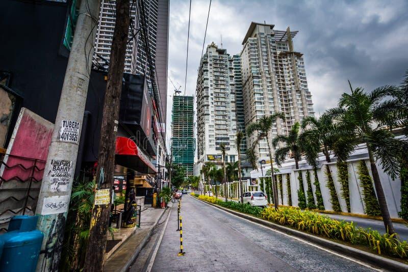 Skyskrapor på århundradestaden, i Makati, tunnelbana Manila, Philipen arkivfoto