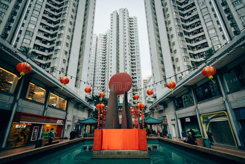 Skyskrapor på den Aberdeen mitten, i Hong Kong royaltyfria foton