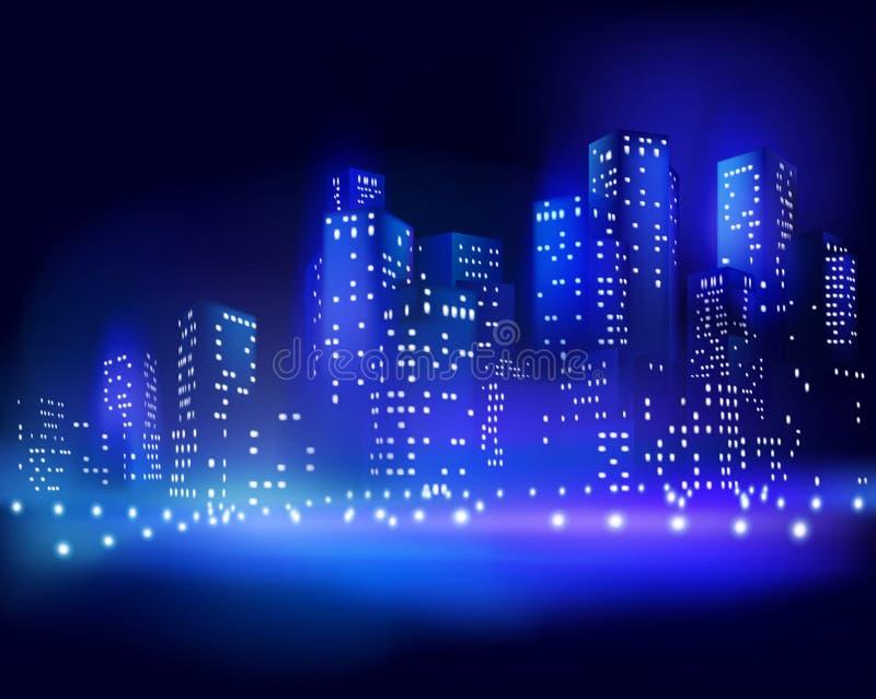 Skyskrapor på natten också vektor för coreldrawillustration stock illustrationer