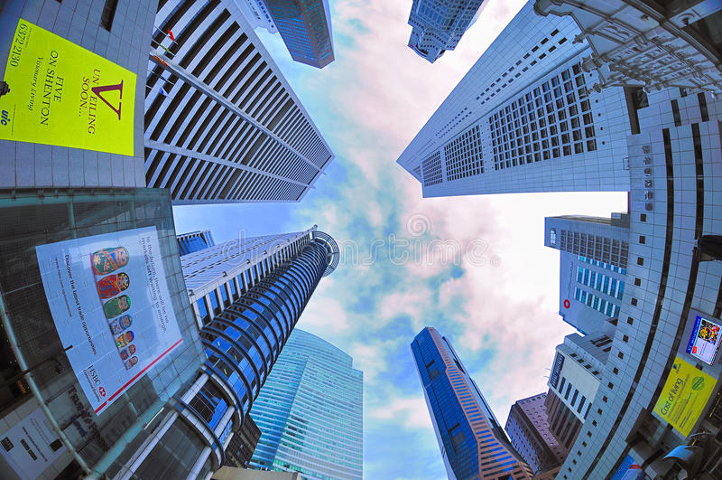 Skyskrapor på Singapore CBD arkivbilder