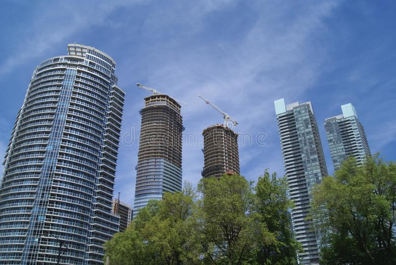 Skyskrapor torn, finansiellt område, Toronto, Ontario, Kanada royaltyfri bild