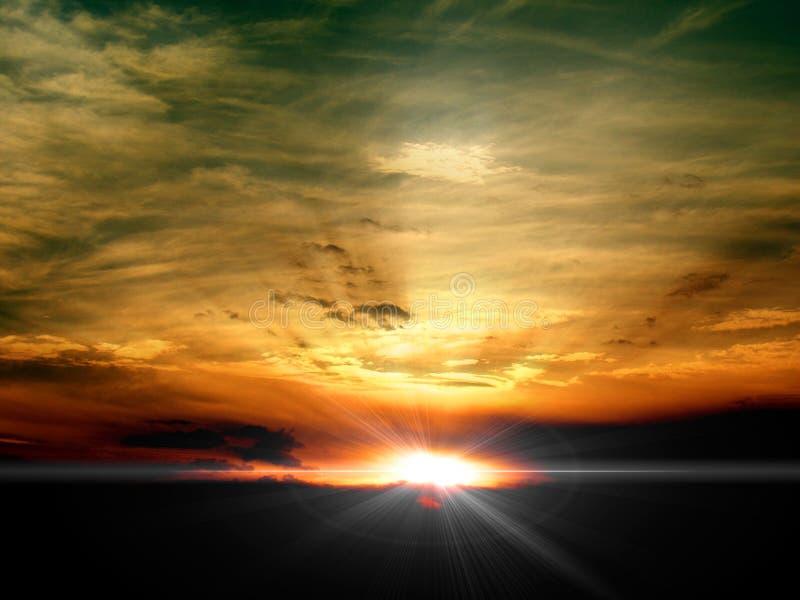 skysoluppgångsolnedgång arkivbild