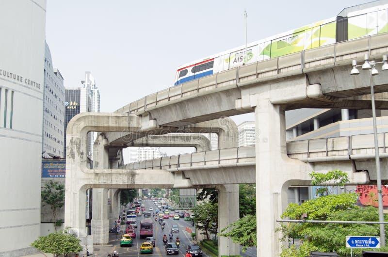 Skytrain,泰国广场,曼谷 编辑类库存照片