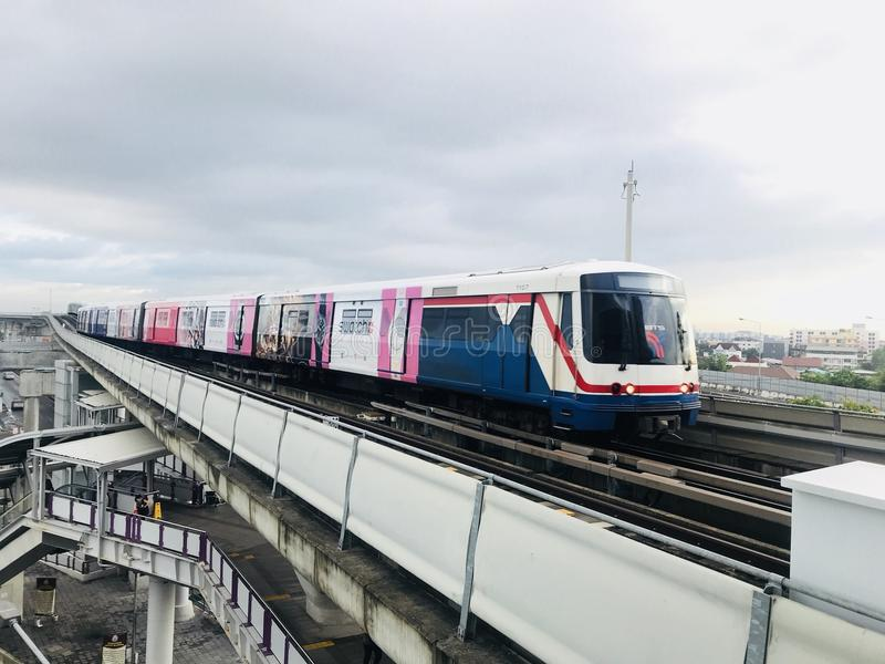 Skytrain. Bangkok , Thailand - MAY 1, 2018 : BTS Sky train mass transit system in Bangkok. The main BTS line connects the stations around Bangkok. The Bangkok stock photo