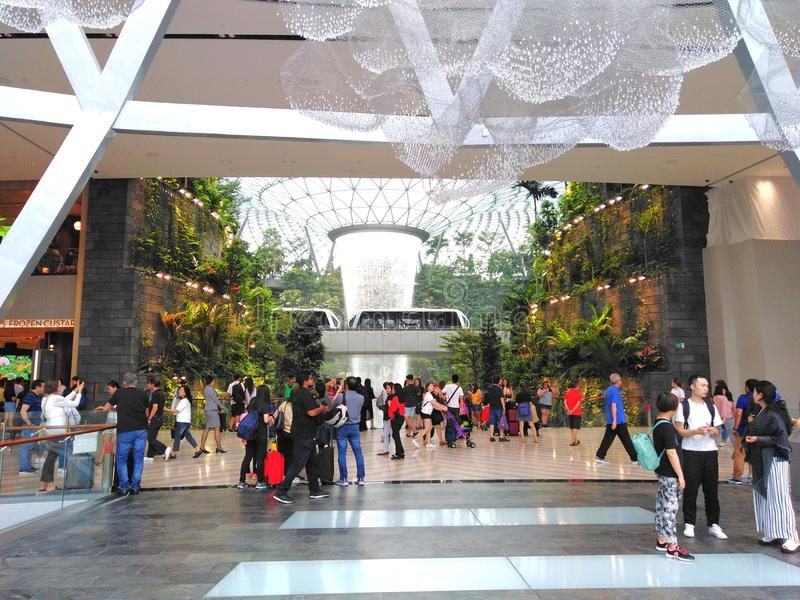 Skytrain in the Jewel Changi Airport stock photos