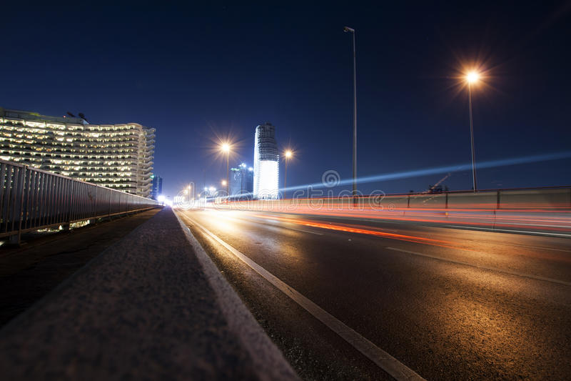Skytrain at night in Bangkok, Thailand royalty free stock photography