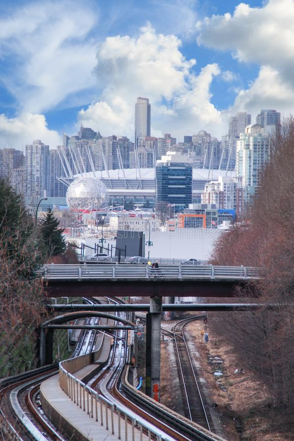 Free Skytrain Railway To Vancouver Downtown Stock Images - 110942764
