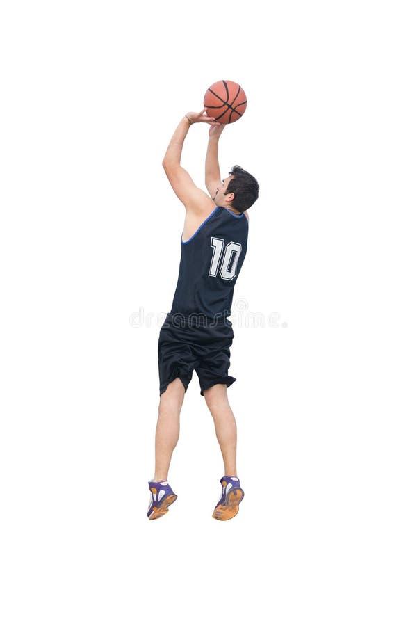 Skytte för basketspelare på vit arkivfoto